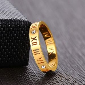 14K Gold Plated Roman Numeral Classic Ring